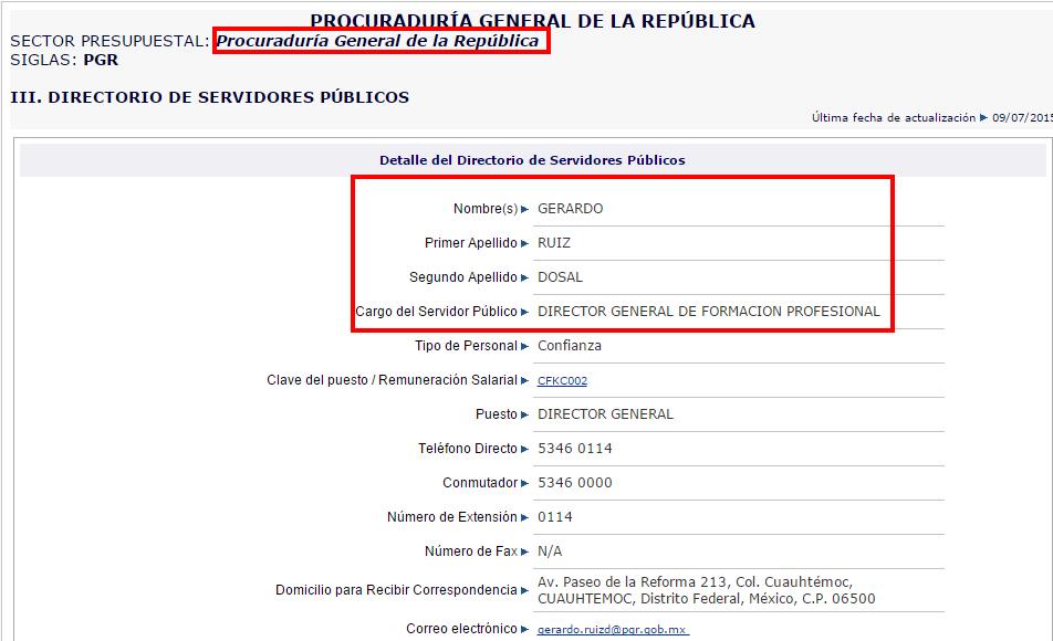 Gerardo Ruiz Dosal-Registro de servidores publicos