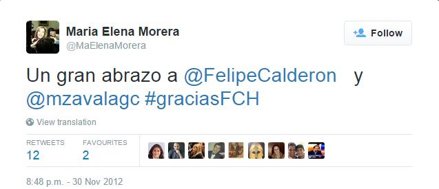 Maria Elena Morera on Twitter   Un gran abrazo a  FelipeCalderon y  mzavalagc  graciasFCH