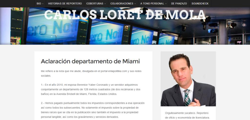 Aclaración departamento de Miami CARLOS LORET