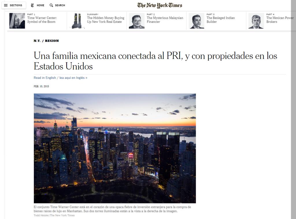 Una familia mexicana conectada al PRI y con propiedades en los Estados Unidos The New York Times