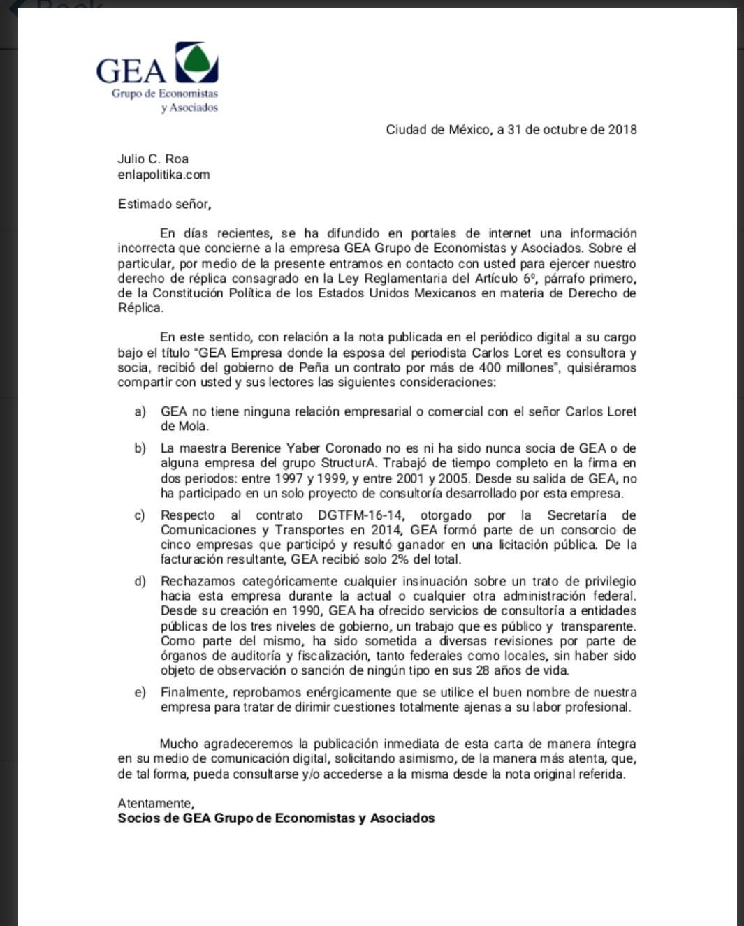 carta aclaratoria GEA