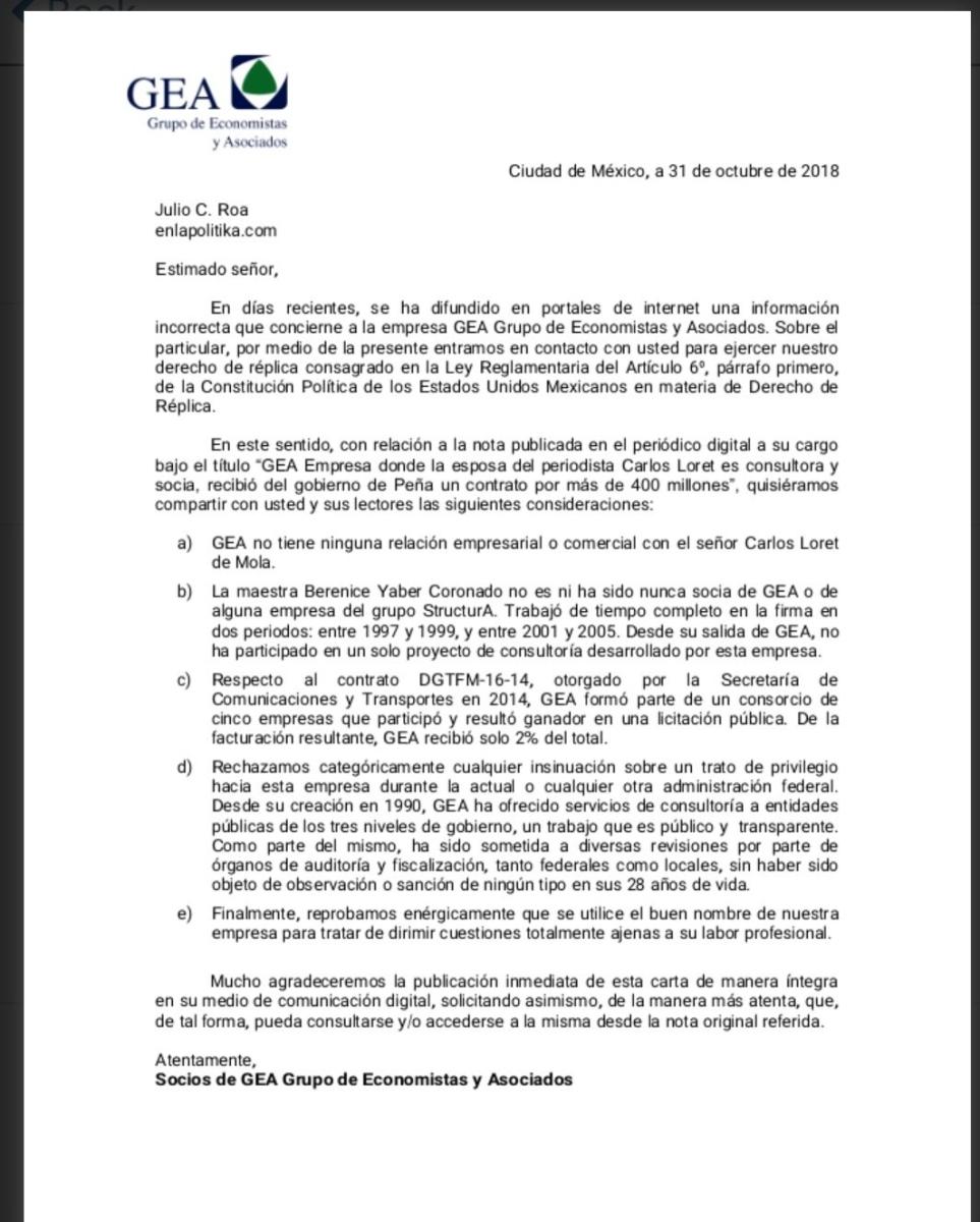 Derecho de réplica.  Berenice Yaber, esposa del periodista Carlos Loret no es ni ha sido nunca socia: Grupo de Economistas y Asociados
